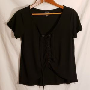 Rue21 black,  lace up, mid t~ CUTE!